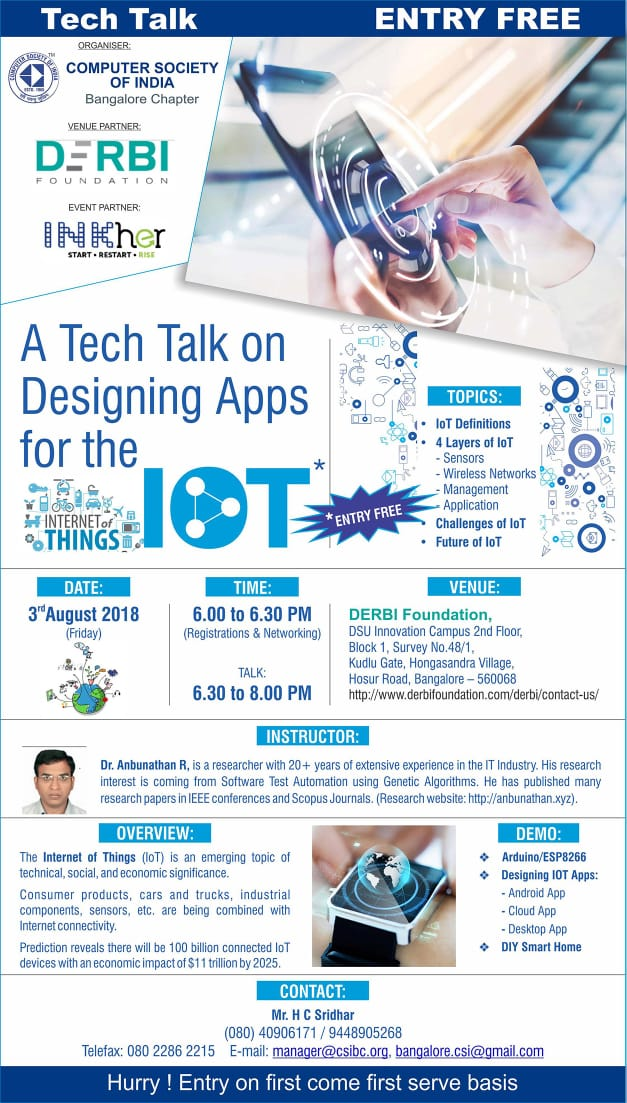A TECH Talk on designing Apps for the IoT(Internet of Things)